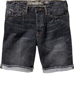 "Mens Roll-Cuff Denim Shorts (9"")"