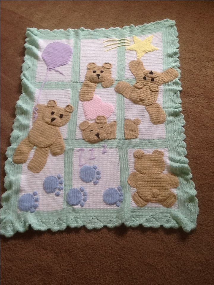 Knitting Pattern For Teddy Bear Baby Blanket : 17 Best images about Crocheted Baby Blankets and Cocoons ...