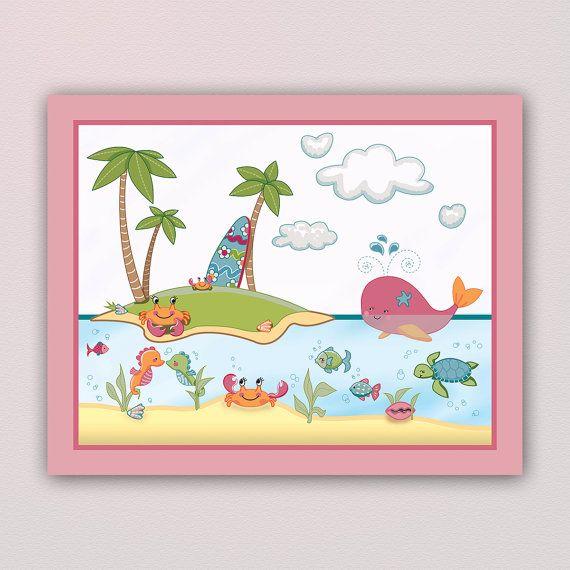 Adorable bajo el mar vivero arte Print - a juego con un beddding conjunto. Linda chica colores. Pulpo, ballena, cangrejo, delfín, tortuga, Caballito de mar