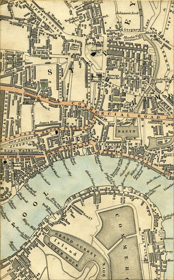 Detail, Cruchley's New Plan Of London 1827. Showing two rope walks between Narrow Street and Limehouse Basin, and another rope walk along Upper Shadwell, roughly between where Elf Row and Glamis Place are now.