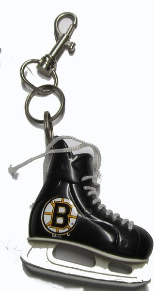 """Show your team pride while you are on the go ,with this NHL Bruins hockey skate key ring . Made of heavy duty plastic for durability, measures appx 2.0 """""""