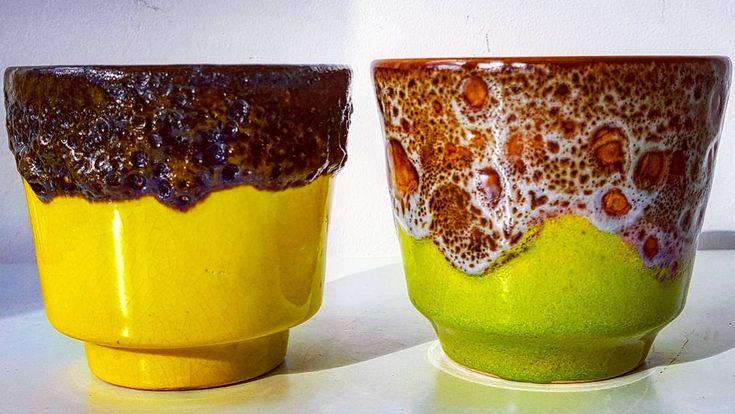 "Polubienia: 47, komentarze: 1 – modern (@modern_old2new) na Instagramie: ""Yellow and Green Garman Small planters #yellow #black #green #olivegreen #brown #fatlava #keramik…"""