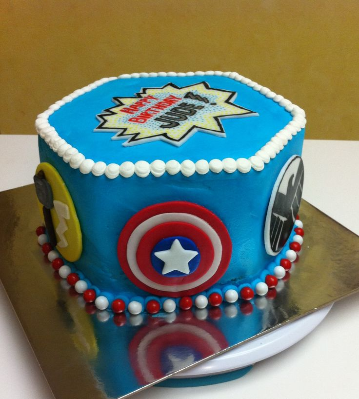 Avengers Birthday Cake Design : captain america birthday cake Avengers Hexagon Cake ...