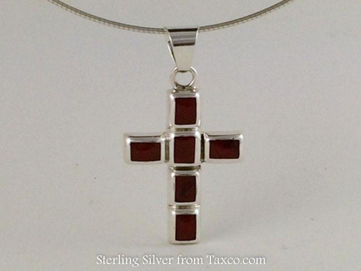 Mosaic Sterling Silver Cross Pendant, Red Jasper