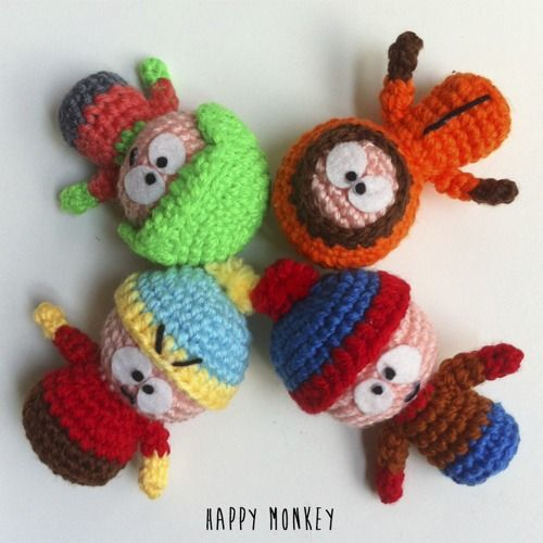 South Park: Kyle, Stan, Cartman and Kenny amigurumi