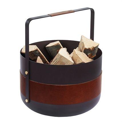 Wood Basket Emma Havane Designed by Emma Olbers Scandinavian fireplace accessories from Eldvarm, Sweden