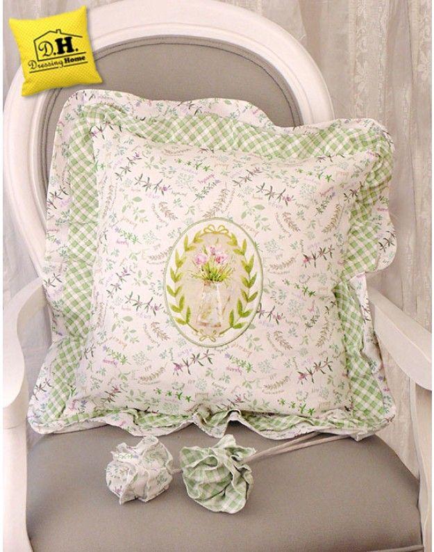 Cuscino arredo con Doppio Volant Versione Erbe Angelica Home & Country Collezione Giardino Botanico