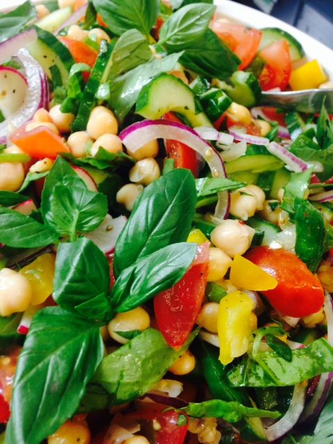 Delicious Mediterranean salad prepared with amazing #Scottish ingredients -great Scottish cucumber and Perthshire grown basil ! Yummy!!!