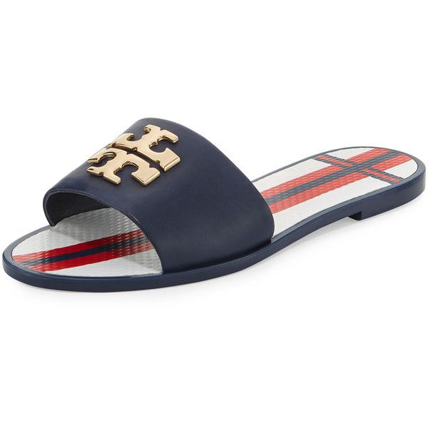 Tory Burch Logo Jelly Flat Slide Sandal ($150) ❤ liked on Polyvore featuring shoes, sandals, navy, open toe flat sandals, open toe flats, slide sandals, jelly flats and navy blue sandals