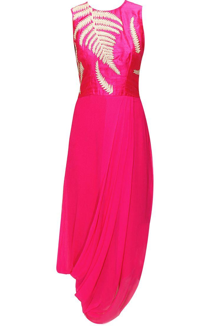 Pink fern embroidered draped dress by Nachiket Barve. Shop now: www.perniaspopups.... #dress #designer #nachiketbarve #elegant #clothing #shopnow #perniaspopupshop #happyshopping