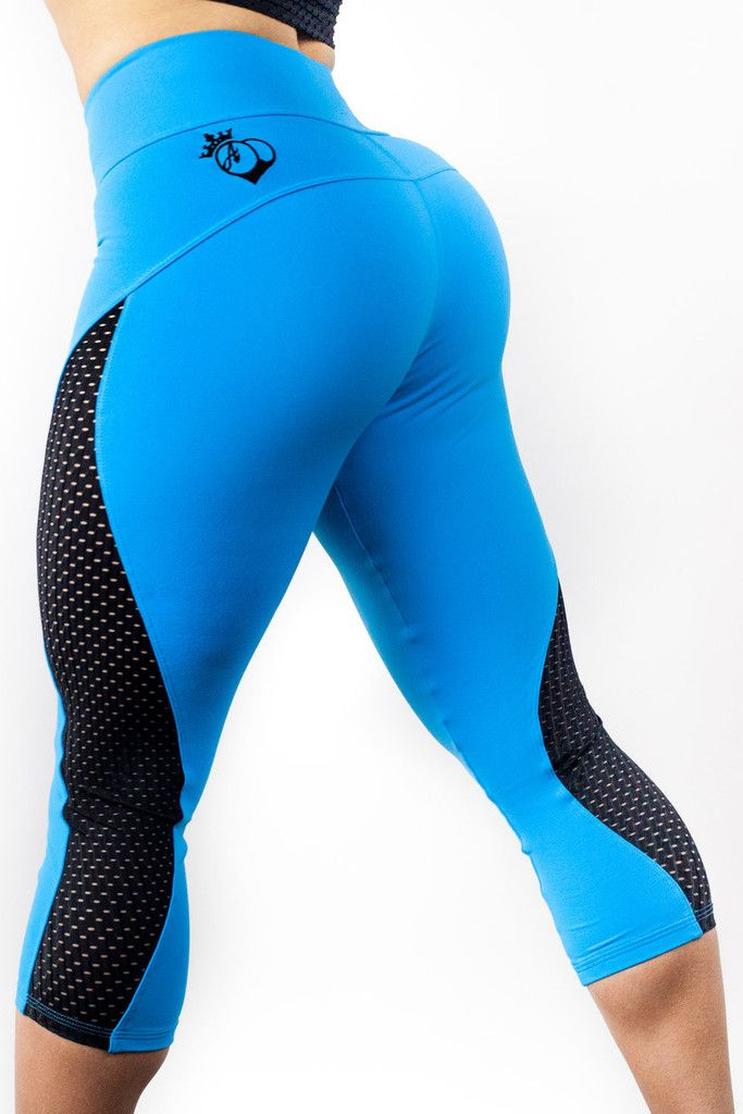 Bootyqueen Laser Cut Crop Leggings Turquoise & Black