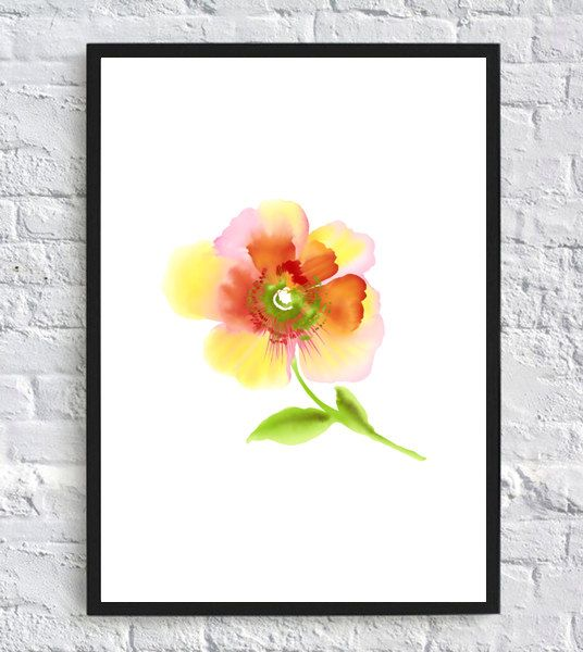 Watercolor paint print red yellow flower floral poster decor home wall art print printable room kitchen home decor green This item is an instant download. What is an instant download? As soon as you purchase this digital print and the payment is confirmed, you will receive a download