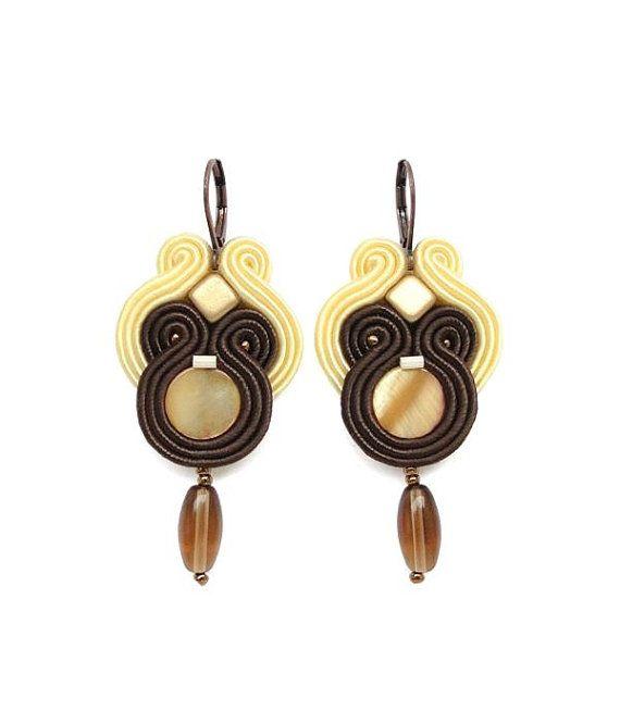 CLEARANCE SALE! Brown Chandelier Earrings Brown Earrings Long Chandelier Earrings Mother of Pearl Earrings Brown Statement Earrings Lightw