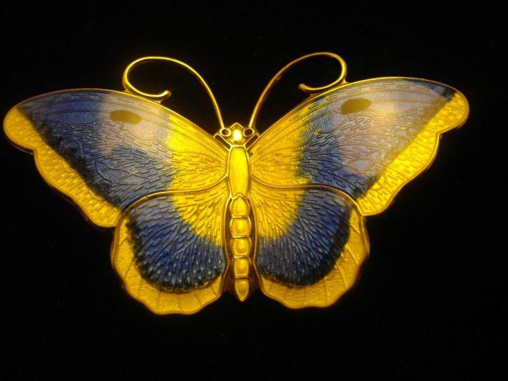 David Andersen Norway Butterfly Brooch Sterling Silver Gold