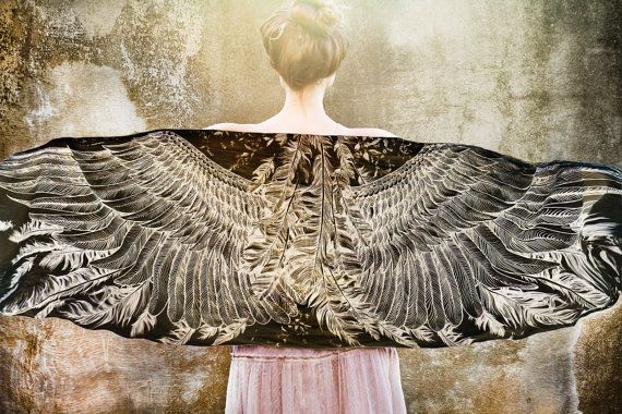 Women scarf black cotton Hand painted Wings stunning by Shovava, $48.00