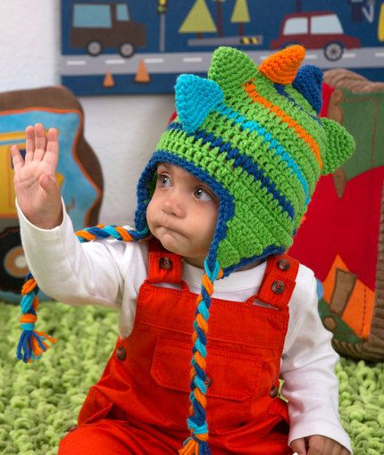 Dino Stripes Hat Free Crochet Pattern from Red Heart Yarns