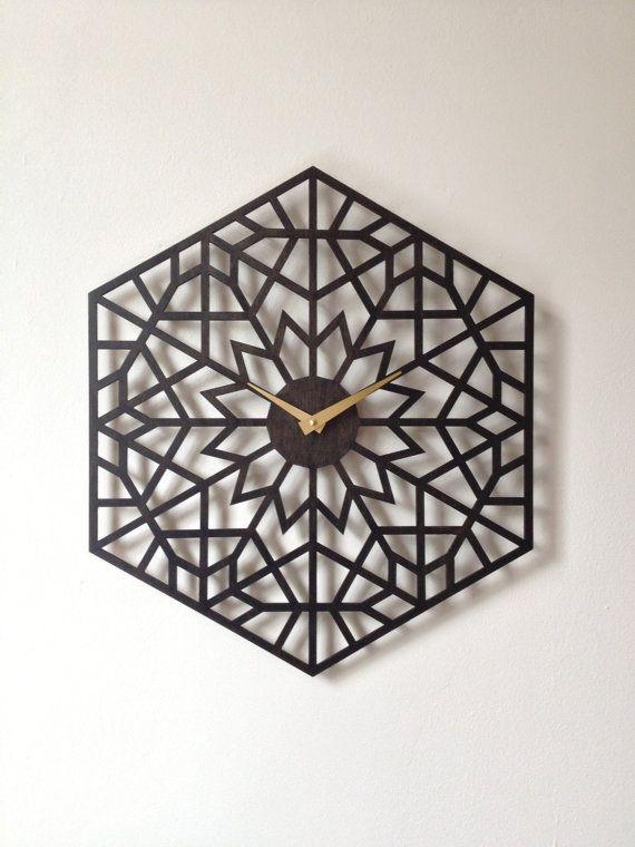 Lotus Clock. Geometric laser cut wood wall by SarahMimoClocks, $127.00