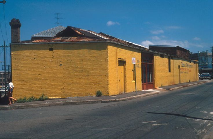 1977-1980 Angel Street Newtown, looking south. The yellow building at 104 Angel St is Colossus Refrigeration. To the left is Iredale Street.
