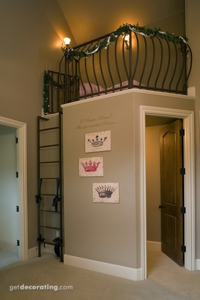Inside the closet would be the library and up top is the reading nook.