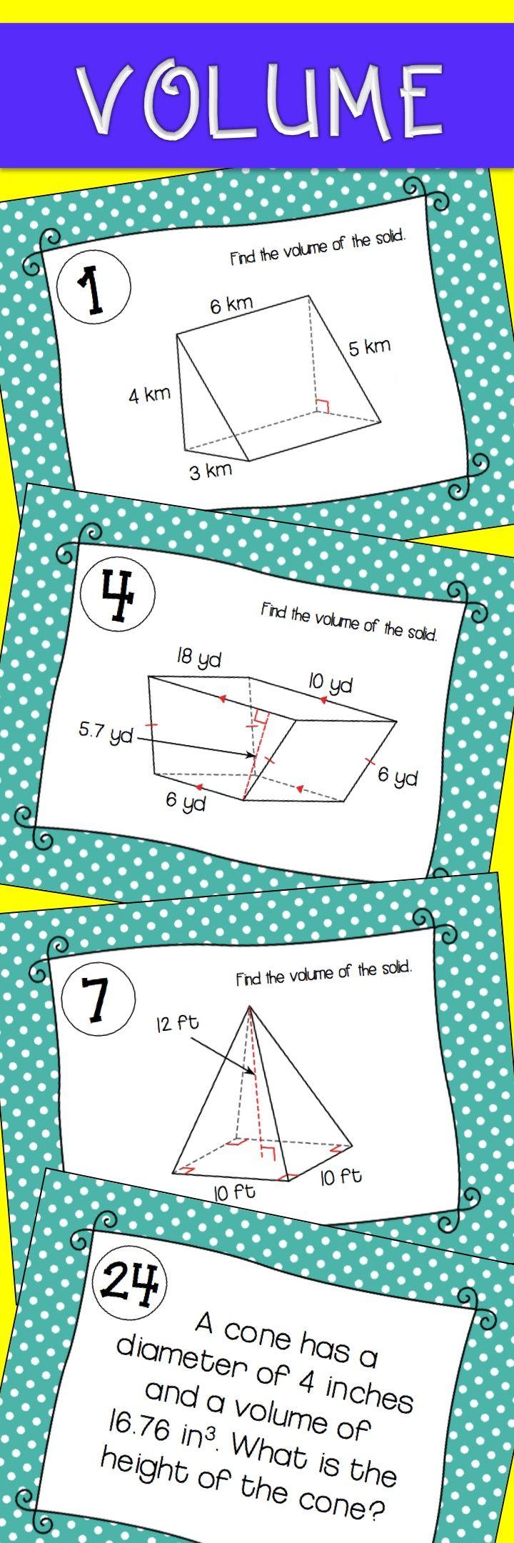 Volume Activity for High School Geometry - Volume Task Cards