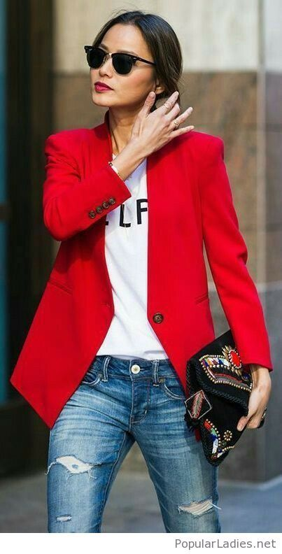 Jeans, white top and red blazer