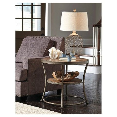 Signature Design by Ashley Nartina Round End Table - Light Brown