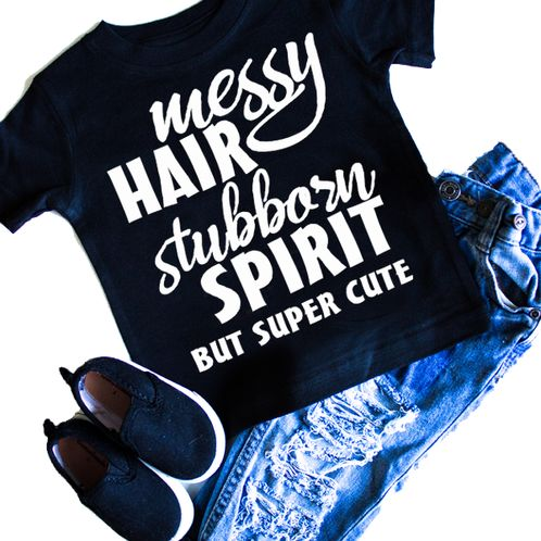 Messy Hair Stubborn Spirit girls t-shirt. graphic t-shirt. Infant and toddler sizes. Rebel, toddler fashion, baby fashion, kids fashion, girls fashion, boys fashion, street wear, urban, monochrome, graphic shirts, graphic tee. Rebellious Dudes and Dolls.