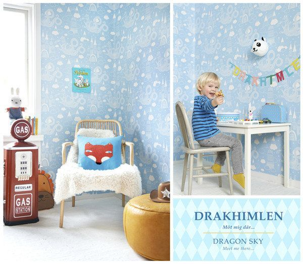 Behang Majvillan Dragon Light Blue  -  De Oude Speelkamer