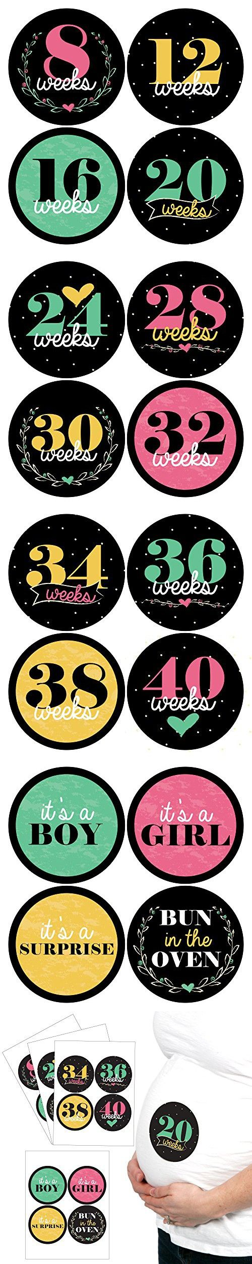 Vibrant Floral - Weekly Pregnancy Belly Stickers Set - 16