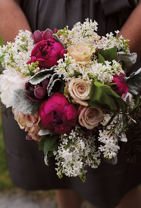 Peonies, roses, and lamb's ear. Maggie Conley Photography.