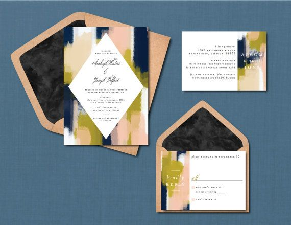 Modern Brush Stroke Wedding Suite // DOWN by blacklabstudio