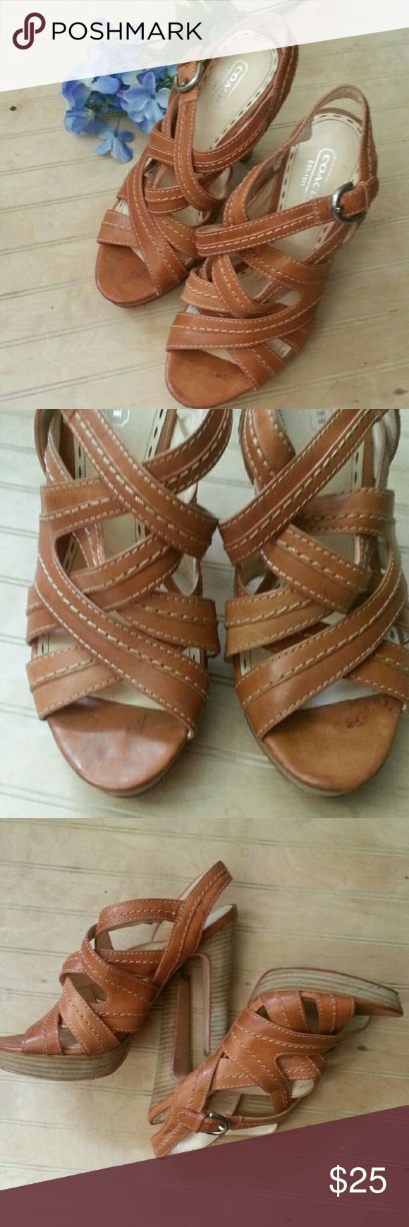 Coach Brynne Sandal Camel strappy heeled sandal. Wood heel, leather upper, adjustable strap at ankle. These have a few nicks and cosmetic issues, but nothing too noticeable.  Please look carefully at the photos. Coach Shoes Sandals