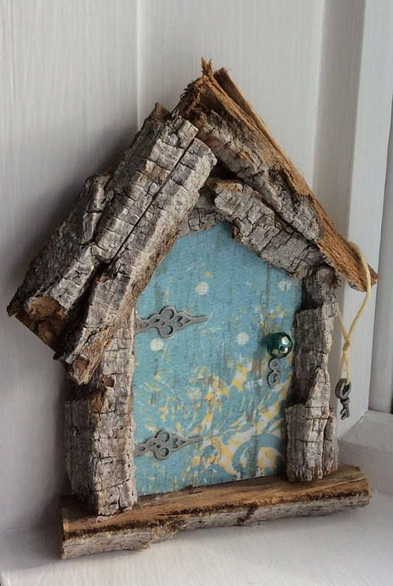 Fairy Door with Tiny Key  Each Hand Cut  One of a Kind