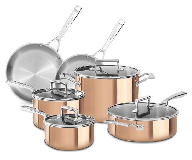 Kitchenaid 10 piece aluminum cookware set copper