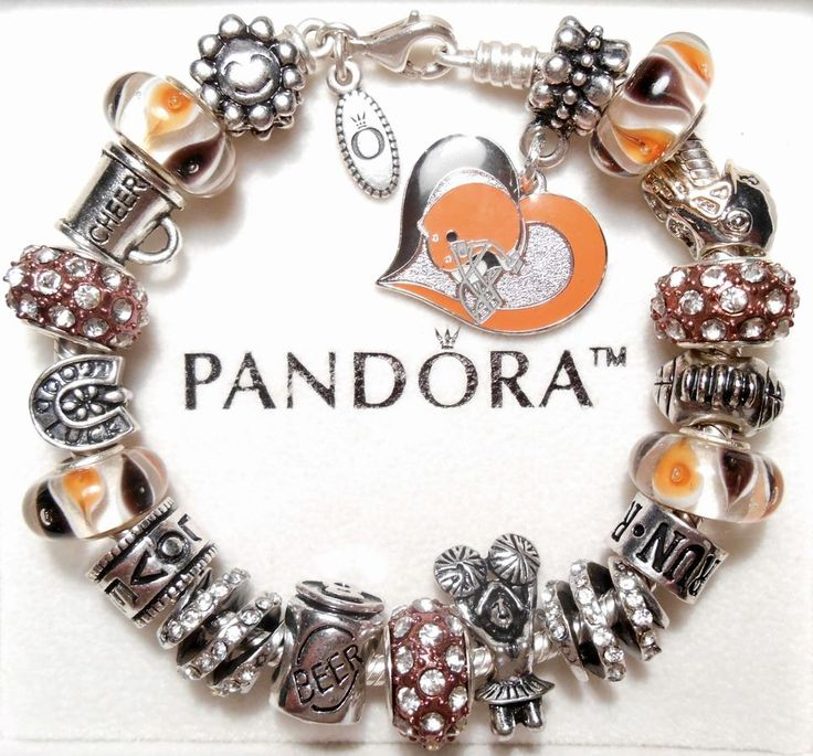Authentic Pandora Silver Charm Bracelet With Charms! Cleveland Browns Football #PandoraBracelet #European