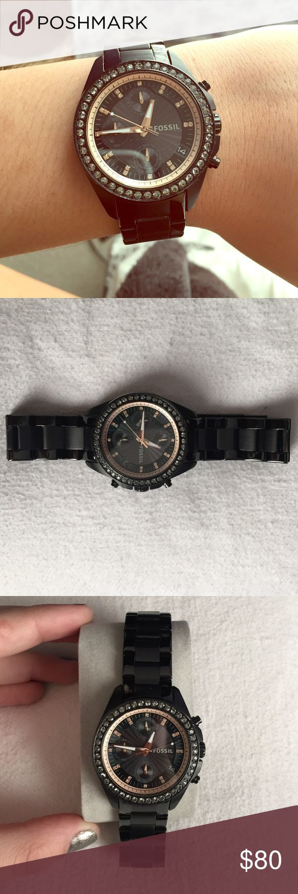 Fossil Black Decker Watch Black stainless steel Fossil watch. Price negotiable. Rare find and Like new, worn maybe 3 times. Still have the original box, tags, and links. Only selling because I just got another black watch and don't need two. Fossil Accessories Watches