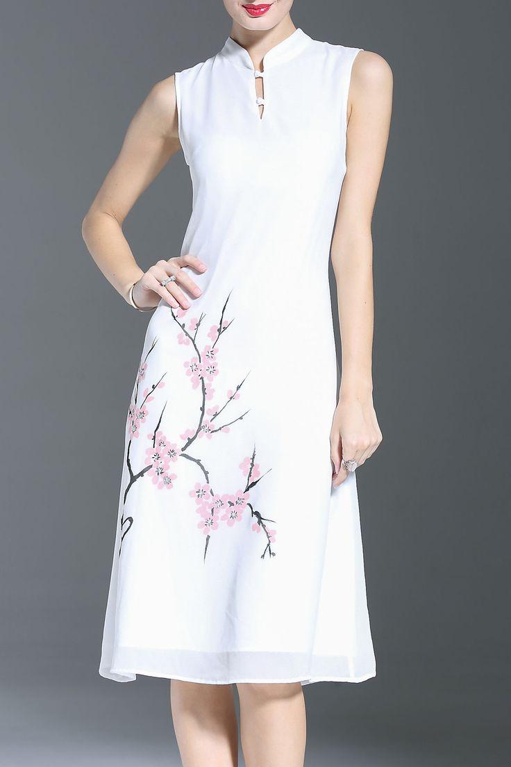 Flower Print Layered Cheongsam Dress
