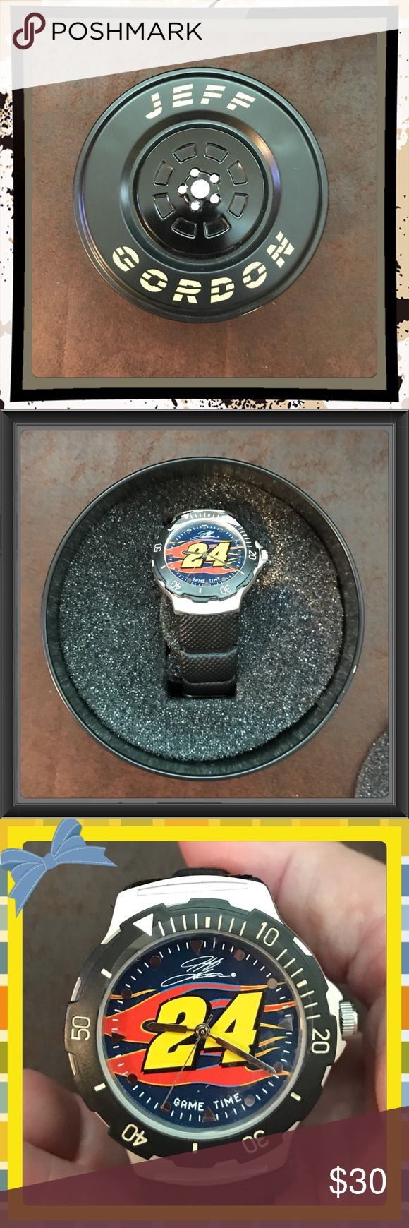 New Never Worn Jeff Gordon Watch W/Tire Tin Finally my husband is giving up some of his collections he's had all over the house. If your hubby is a Jeff Gordon fan this is a neat gift to get him especially if he'll wear it instead of leaving it on a shelf. It's been kept in the tin, never taken off the foam it's wrapped around & you never know, it may be worth more now since Jeff isn't racing anymore. Nascar Jeff Gordon Accessories Watches