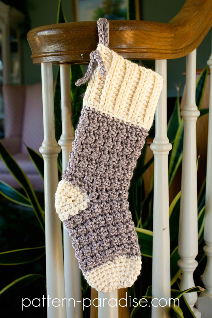 Free Crochet Pattern: Cozy Cottage Christmas Stocking | Pattern Paradise