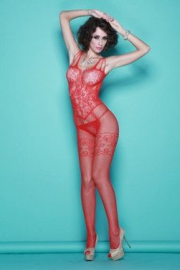 Strappy Shoulders Floral Motif Mesh Body Stockings LC79440