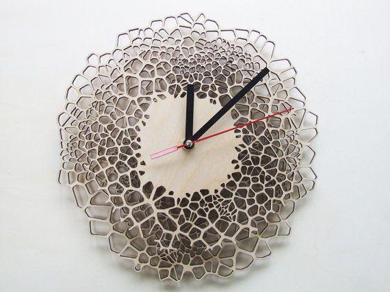 Giraffe clock - MEDIUM - laser cut wood - modern wall clock - voronoi pattern - wooden clock. €71.00, via Etsy.