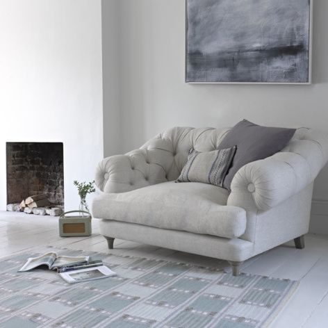Styled Bagsie love seat in thatch house fabric