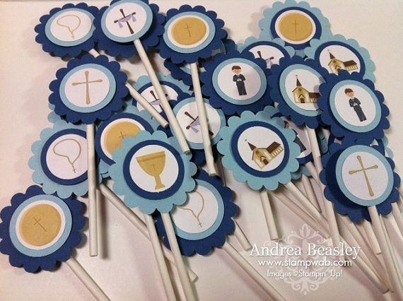 First Communion Cupcake Toppers 12 by stampwab on Etsy, $10.00