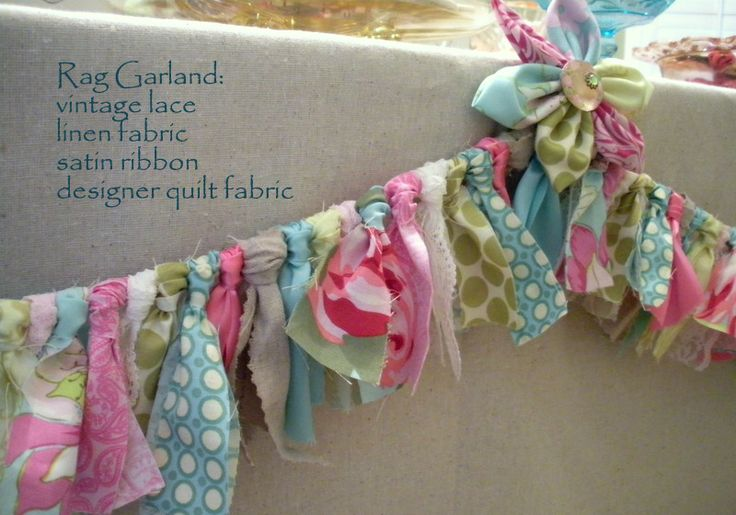 Beautiful rag garland..use any colored fabric..maybe attach to string of lights to put on a iron headboard