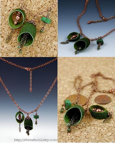 Green Silk Necklace Collage