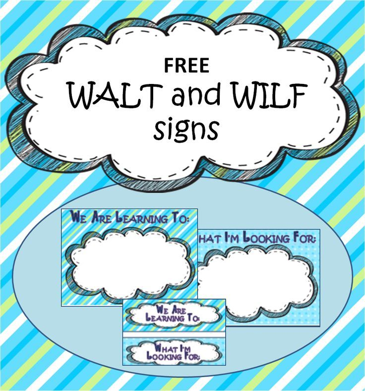 A Crucial Week: Freebie Friday: WALT and WILF posters for sharing ...