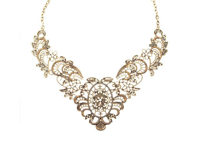 Filigree statement necklace, Filigree bib necklace, gold collar necklace jewelry