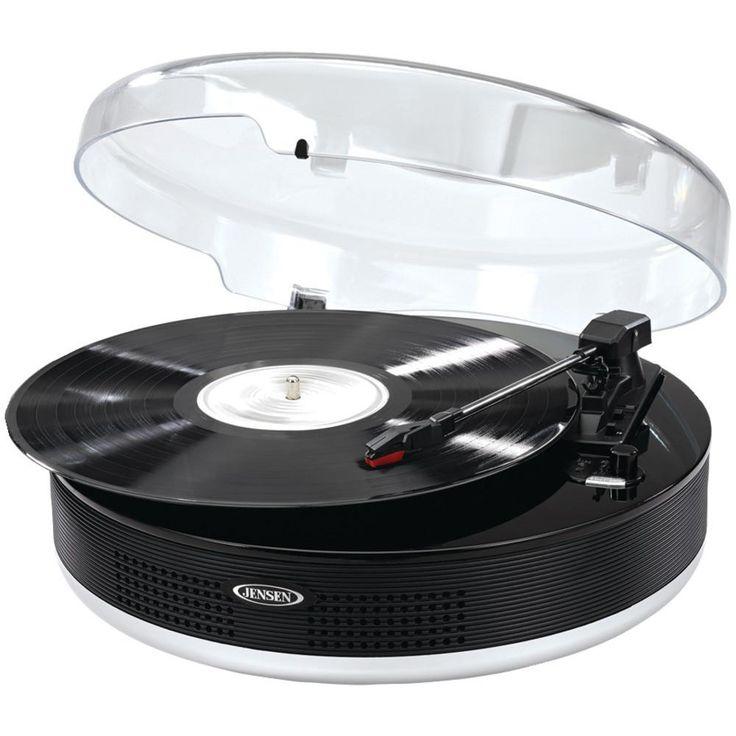 JENSEN JTA-455 Bluetooth(R) 3-Speed Stereo Turntable with Metal Tone Arm