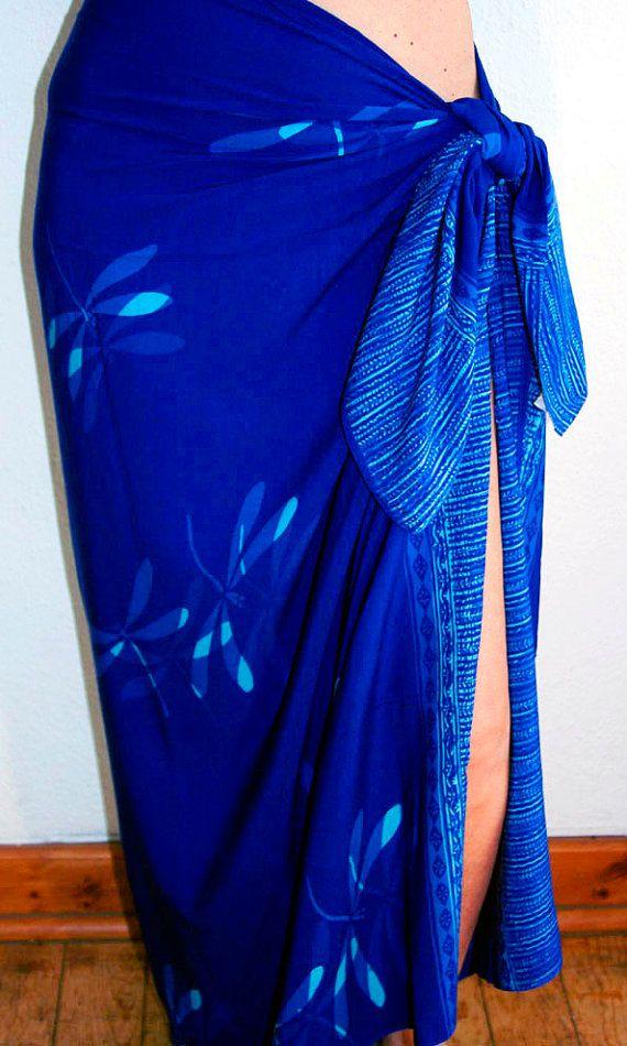 Cobalt Blue Sarong with Turquoise Dragonflies Batik Sarong Womens Wrap Skirt Swimsuit Coverup Beach Pareo