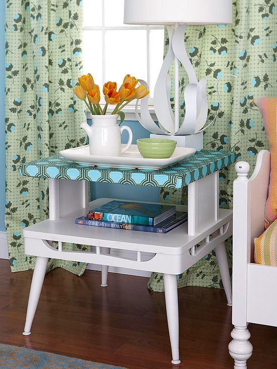 """Make Over a Side - My mom has a side table that is """"different"""" like this one.  A make over would definitely work on it."""
